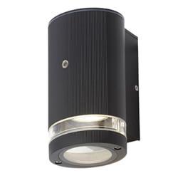 Zinc Helix Black Wall Light With Photocell Sensor