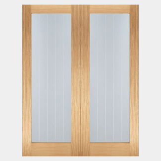 LPD Mexicano Pattern 10 Un-Finished Oak 2L Internal Glazed Door Pair