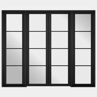 LPD Soho W8 Black Primed 4L Room Divider Glazed Door Set