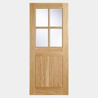 LPD Cottage Un-Finished Oak 1P 4L External Clear Glazed Door
