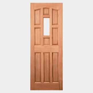 LPD York Un-Finished Hardwood 9P 1L External Unglazed Door