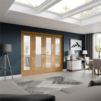 XL Joinery Freefold Un-Finished Oak 6P Room Divider Internal Glazed Door