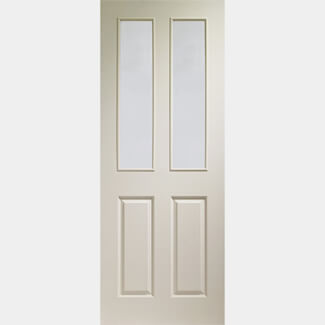 XL Joinery Victorian Un-Finished White Moulded 2P 2L Internal Clear Glazed Door