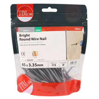 Timco Bright Round Wire Nails 65mm