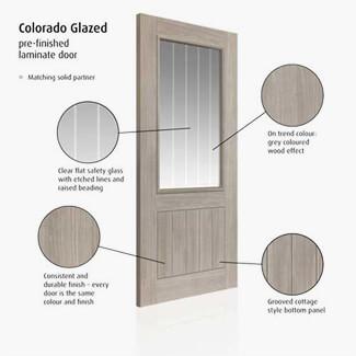 JB Kind Colorado Fully Finished Grey 5P 1L Laminated Internal Glazed Door