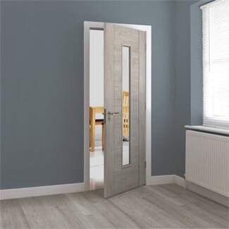 JB Kind Alabama Fumo Pre-Finished Smokey Grey 1P 1L Internal Glazed Door