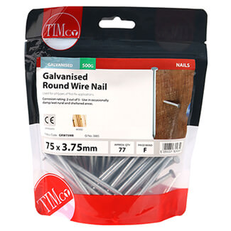 Timco Round Wire Galvanised Nails - 75mm-Length x 3.75mm-Shank Diameter