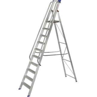 Werner Platform Shop Steps Aluminium Stepladder With Handrails