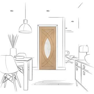 XL Joinery Treviso Un-Finished Oak 1P 1L Internal Glazed Door