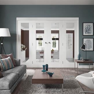 XL Joinery Pattern 10 White Primed 1L Internal Clear Glazed Door