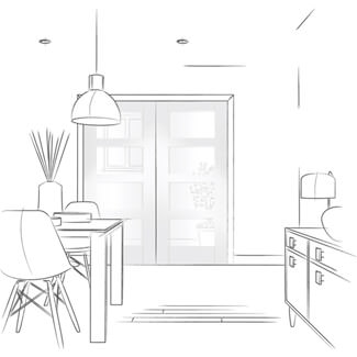 XL Joinery Pattern 10 White Primed 2L Internal Glazed Door Pair