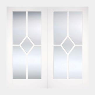 LPD Reims White Primed 10L Internal Glazed Pair Door