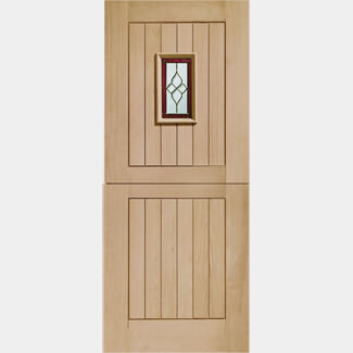 XL Joinery Chancery Un-Finished 2P 1L Oak External Obscure Glazed Door