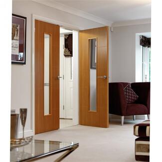 JB Kind Louvre Pre-Finished Oak 5P 1L Internal Glazed Door