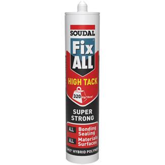 Soudal Fix All High Tack Hybrid White Polymer Sealant Adhesive 290ml