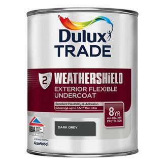 Dulux Trade Weathershield Exterior Undercoat Paint Dark Grey 1 Litre