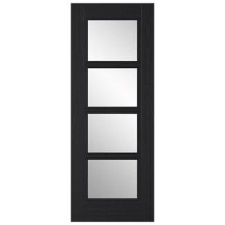 LPD Vancouver Charcoal Black 4L Internal Clear Glazed Door