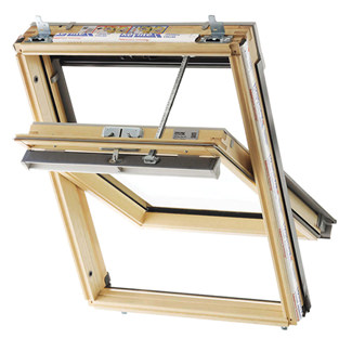 Keylite Electric Center Pivot TCP Clear Lacquered Pine Roof Window