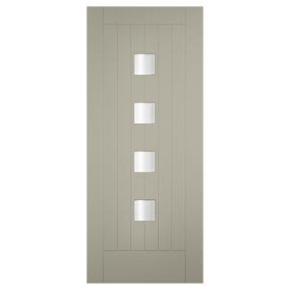 XL Joinery Tricoya Siena Painted Pebble Grey 4L External Obscure Glazed Door