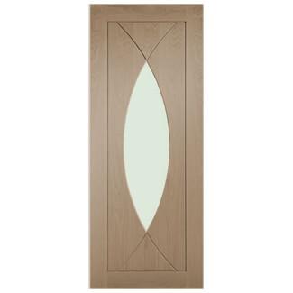XL Joinery Pesaro Crema Oak 4P 1L Internal Glazed Fire Door