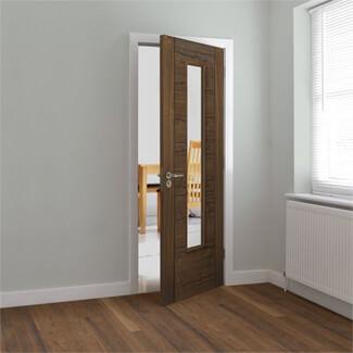 JB Kind Emral Pre-Finished Walnut 5P 1L Internal Glazed Door