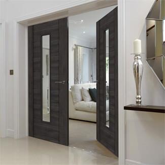 JB Kind Alabama Cinza Fully Finished Dark Grey 1P 1L Laminated Internal Glazed Door