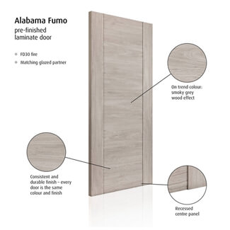 JB Kind Alabama Fumo Pre-Finished Smoky Grey 1P Internal Fire Door