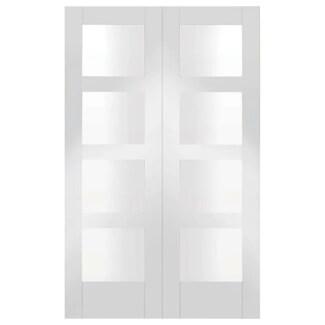XL Joinery Shaker White Primed 8L Internal Glazed Door Pair