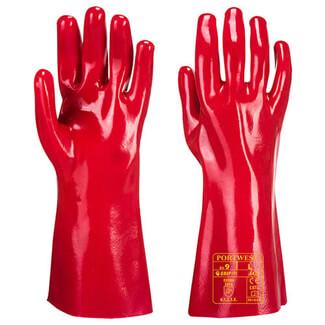 Portwest A435 PVC Gauntlet Grip Red Gloves