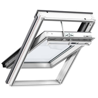 Velux INTEGRA Electric Centre Pivot GGL White Painted Pine Roof Window